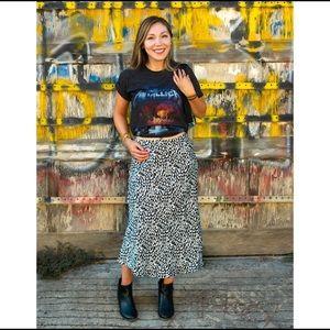 Satin Animal Print Bias Midi Skirt